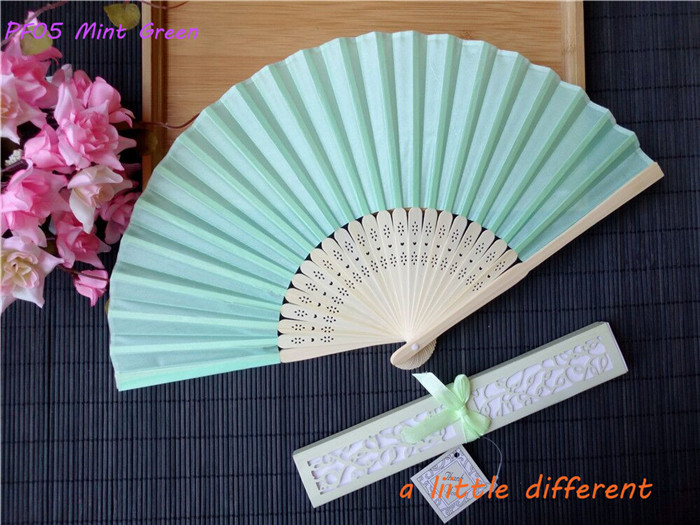 21cm 150pcs/lot Mint Gift Box Packing Bamboo Hand Hold Paper Fan For Summer Wedding Favor Home Party Craft Project Supplies