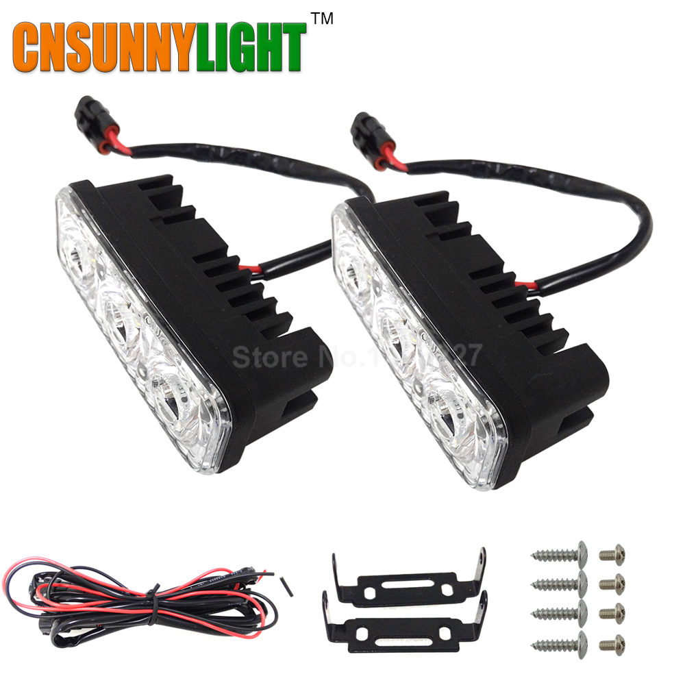 CNSUNNYLIGHT Waterproof Car High Power Aluminum LED Daytime Running font b Lights b font with Lens