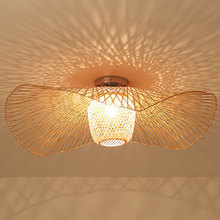 Bamboo Wicker Rattan Shade Cap Ceiling Light Fixture Creative Rustic Asian Nordic Country Japan Lamp Design Bedroom Study Room 30 40 50cm wicker rattan ball globe sphere pendant light fixture modern rustic country hanging lamp avize luminaria dining room