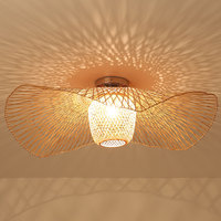 Bamboo Wicker Rattan Shade Cap Ceiling Light Fixture Creative Rustic Asian Nordic Country Japan Lamp Design Bedroom Study Room
