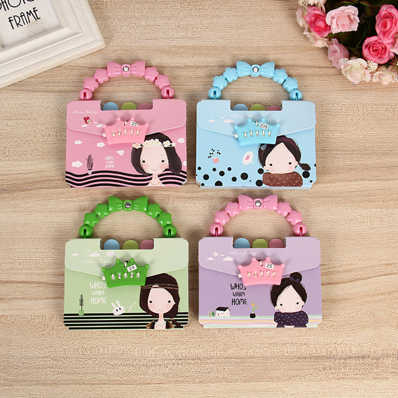 Coloffcie Creative Cute rRabbit Portable Password Diary Notebbok Children's notebook Student Prizes School Supply Random Color
