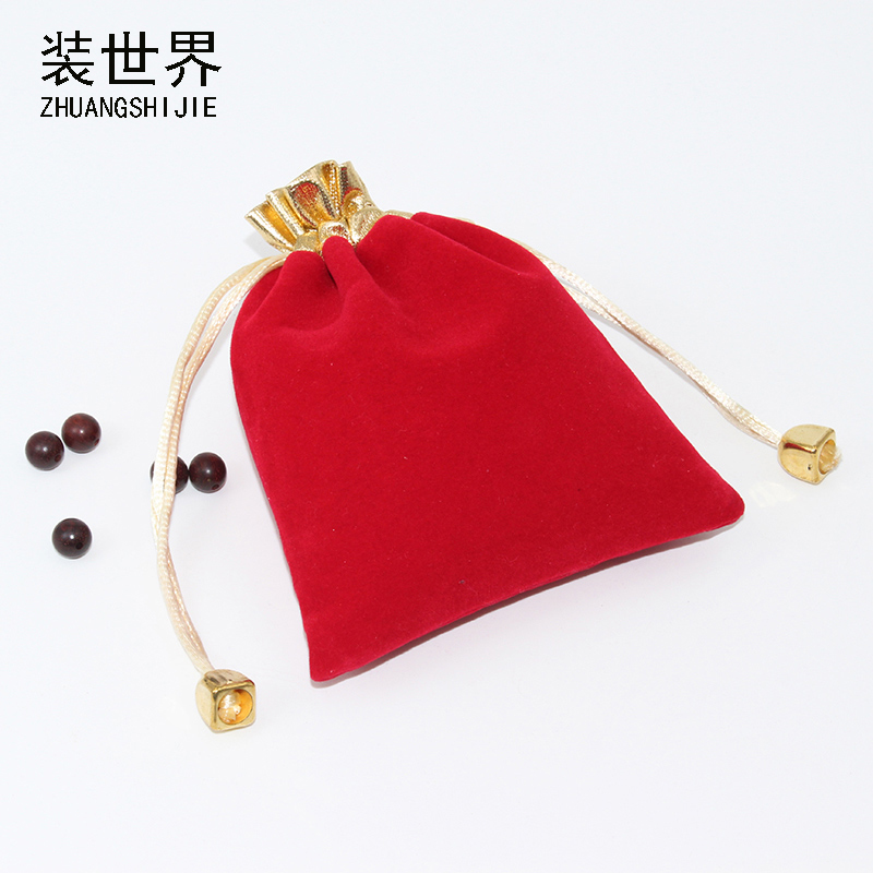 10pcs /Lot 10*12cm Makeup Jewelry Packing Velvet Bag Custom Logo Print  Pouch Wholesale Drawstring Bags For Wedding Gifts