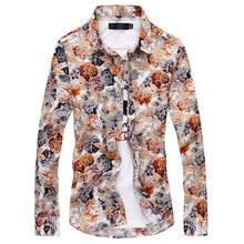 MarKyi fashion men shirt floral printing 2017 new mens shirts casual slim fit long sleeve plus size 3xl camisas para hombre
