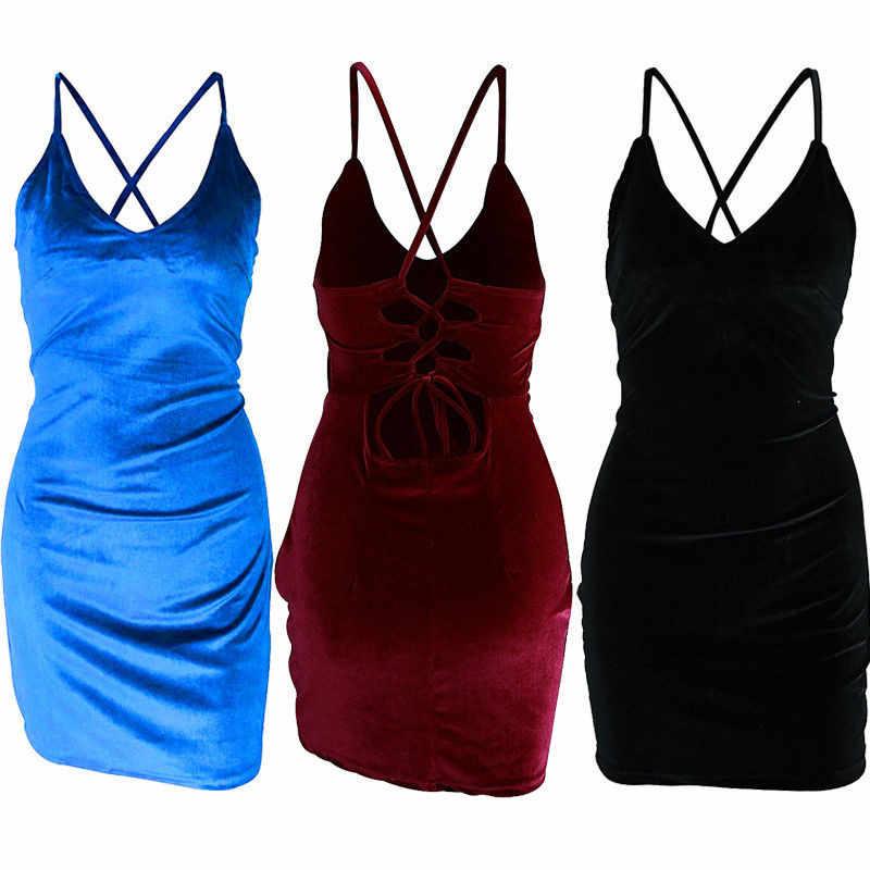新しいスタイルのセクシーな女性vネックストラップベルベットスリム夏のドレス背中の開いたクリスクロス女性のドレスクラブウェアパーティーイブニングペンシルドレス