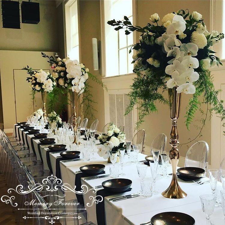 Classy Wedding Decoration Ideas: 10PCS/LOT Elegant Gold Wedding Trumpet Vase Marriage Table