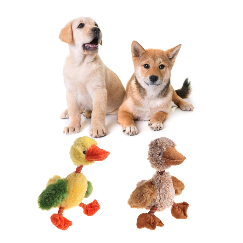 Pet Toy Cat Dog Squeaker Puppy Plush Animal Shape Cute Sound Vivid Yellow Ducks