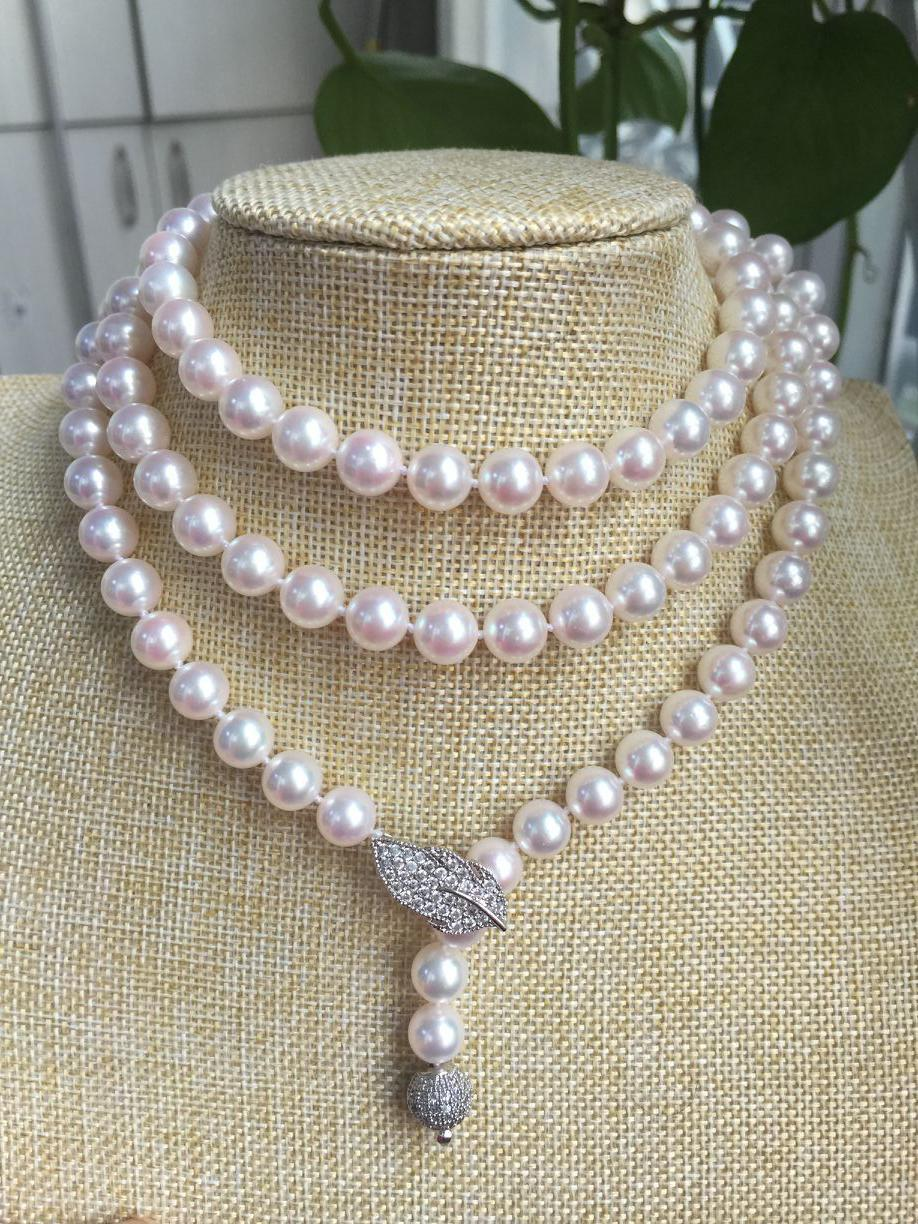 Wholesale price gorgeous AAA 8.5-9mm Akoya round white pearl necklace 40inch silver free shipping hot sell as3190 gorgeous genuine 7 7 5mm aaa round white akoya pearl necklace gift 32
