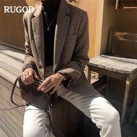 RUGOD Vintage Fashion Plaid blazer women 2019 New office lady single breasted long sleeve jackets coat blazer mujer female