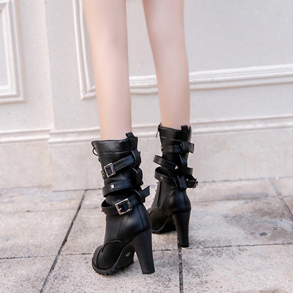 shoes Boots Women Ladies Classics Rivet Belt High Heels Mid-Calf Boots Shoes Martin Motorcycle Zip boots women 2018Oct31 14