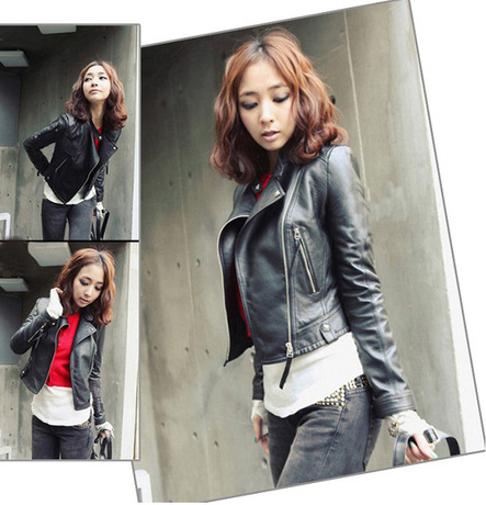 New autumn Women   Leather   Jacket Red Black PU Plus Size fashion Jackets Motorcycle   Leather   spring Jacket Slim Casual Coat