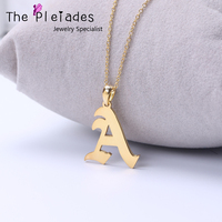 Gold Plate Old English Necklace Single Letter Personalized 26 Letters Pendant 925 Solid Silver Jewelry