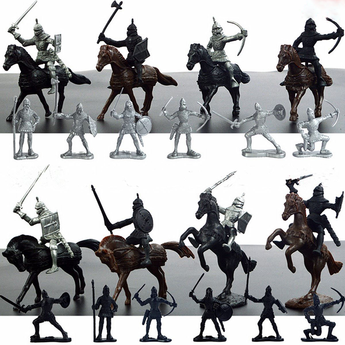 28pcs/set Knights Warrior Horses Medieval Toy Soldiers Figures Playset Mini Model Toys Gift Decor For Children Adult 12pcs set children kids toys gift mini figures toys little pet animal cat dog lps action figures