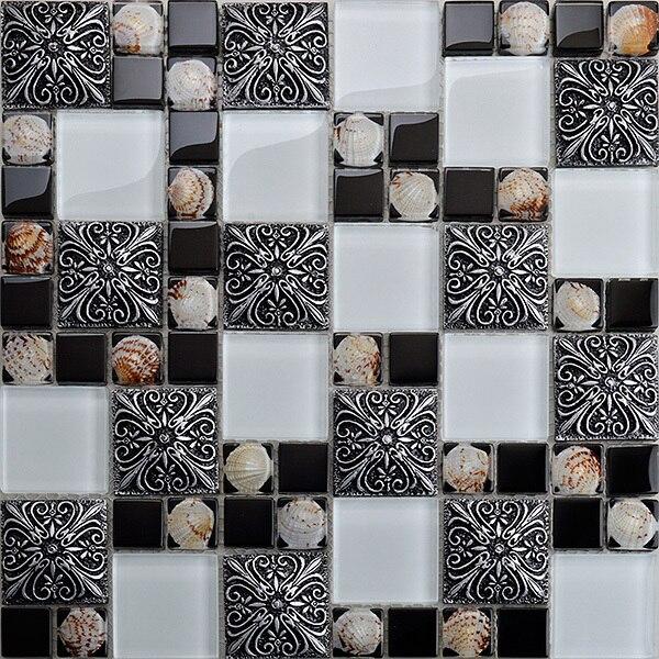 Glas Shell Mosaik Fliesen Mode Vintage Wandaufkleber Puzzle