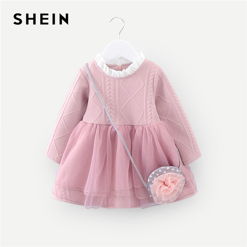 SHEIN Pink Frill Knit Sweater Toddler Girls Tutu Dress With Bag 2019 Spring Long Sleeve Elegant Kids Dresses For Girls Clothing retro style v neck long sleeve ethnic print self tie belt dress for women