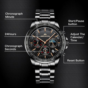 Image 4 - MEGALITH Drop Shipping Mens Watches Top Brand Luxury Full Steel Quartz Clock Male Army Military Watches Men Relogio Masculino