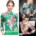Personalized vintage fancy turn-down collar multicolour print long-sleeve pads all-match slim chiffon shirt WC0276