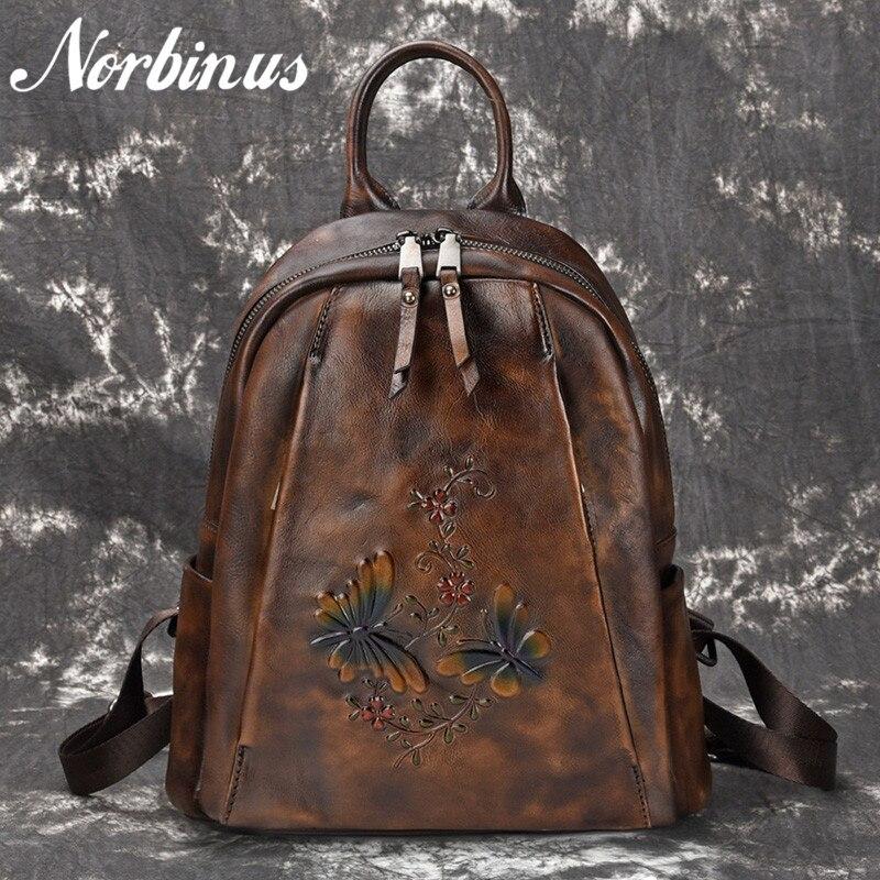 Norbinus High Quality Natural Skin Rucksack Travel Bag Vintage Cowhide Embossed Daypack Knapsack Women Genuine Leather BackpackNorbinus High Quality Natural Skin Rucksack Travel Bag Vintage Cowhide Embossed Daypack Knapsack Women Genuine Leather Backpack