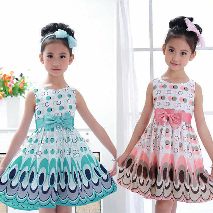 Cute Peacock Sleeveless Dress Peacock Print Kids Girls Bow Belt Sleeveless Bubble Peacock Dress Party Clothing F4
