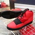 Venta caliente Triángulo Patrick Mohr hombres zapatos Planos Zapatos de Los Hombres de LA PU de Cuero Nobuck Tendencia Rojo Nubuck Negro zapatos Casuales