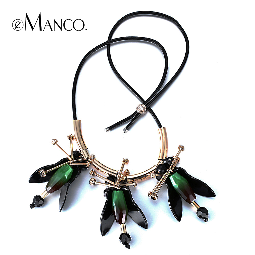 eManco Trendy Gorgeous Flower Adjustable Necklace & Pendant for Women Green Resin Rhinestone Copper Jewelry & Accessories