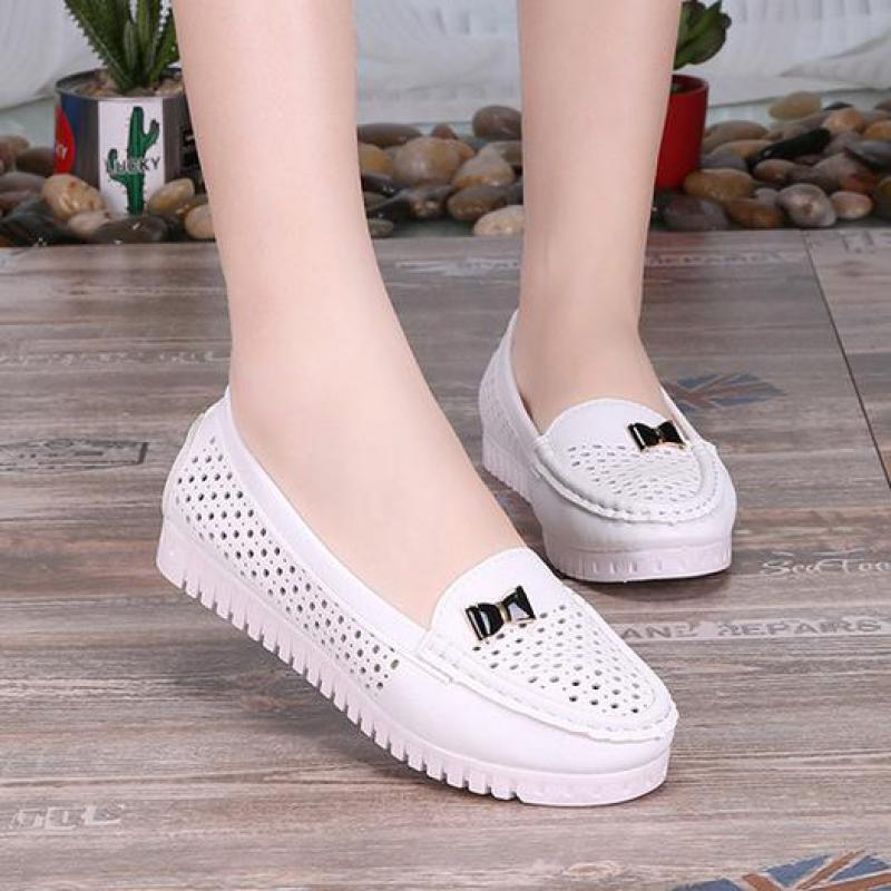 Summer Women Flat Platform Shoes Woman Casual Hollow Round Toe Bow Slip On Soft Comfortable Driving Loafers Lazy Boat Shoes