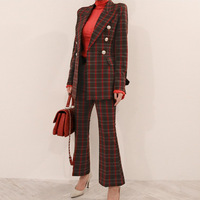 Set female 2019 spring and autumn new professional casual plaid suit jacket trousers two sets of temperament women's clothes
