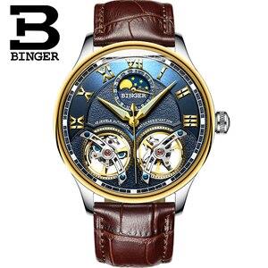 Image 2 - 2020 yeni mekanik erkek saatler Binger rol lüks marka İskelet bilek safir su geçirmez İzle erkekler saat erkek reloj hombre