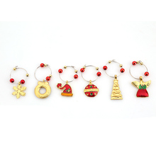 1Set Christmas Wine Glass Decoration Charms Party New Year Cup ring Table Decorations Xmas Pendants Metal Ring Decor EJ879967
