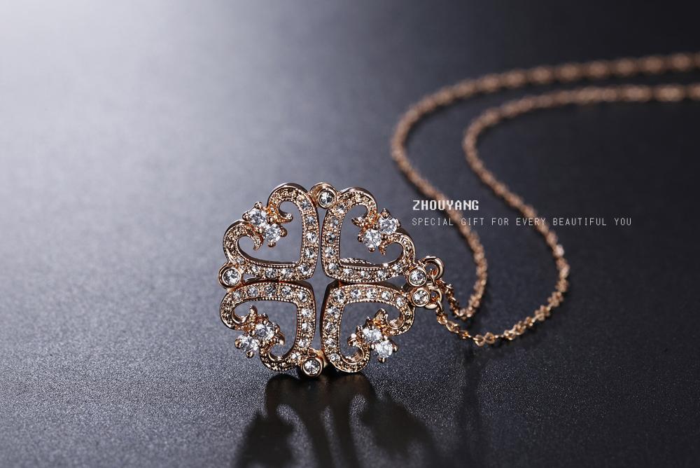 чжоуян высочайшее качество два вида метода износа 4 сердца розовое золото цвет ожерелье австрийский хрусталь оптовая zyn081 zyn082