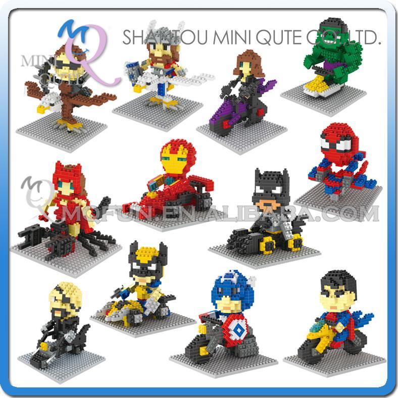 Mini Qute WTOYW DR.STAR 12 style Marvel Avenger super hero chariot diamond plastic building block model educational toy