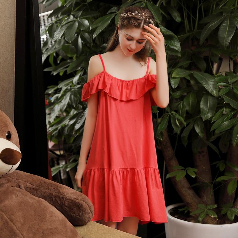 2019 Spring Summer Women Cotton Nightdress Sleeveless Female Cute Ruffles Sleepwear Sweet Princess   Nightgown     Sleepshirts