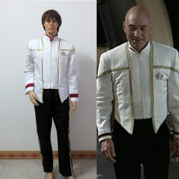 Star Trek Captain Picard Cosplay Costume Insurrection Nemesis Mess White Uniform