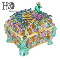 H&D 3inch Hand Painted Trinket Box Metal Enameled Collectable Wedding Jewelry Ring Holder Organizer (Peacock Box)