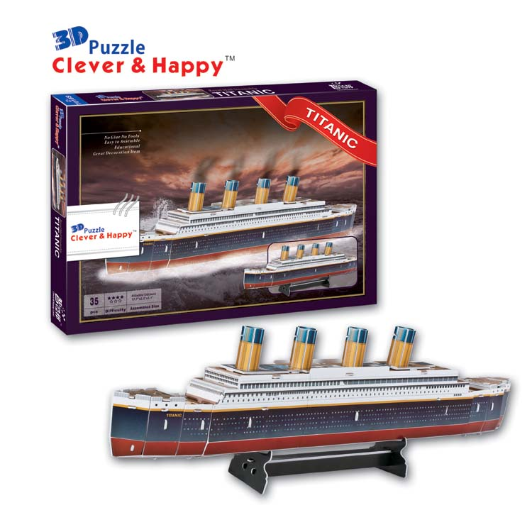 купить Candice guo! 3D puzzle clever & happy paper model DIY assemble toy Titanic ship boat birthday Christmas gift 1pc по цене 1154.6 рублей