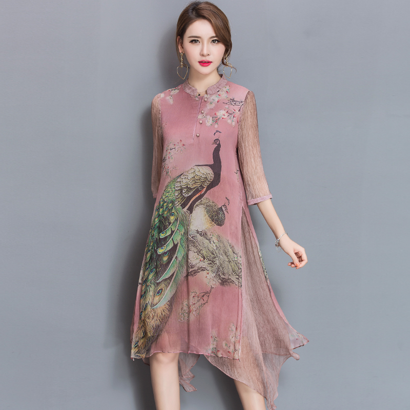 2017 Summer New Dress Vintage Style Fashion Women Rayon
