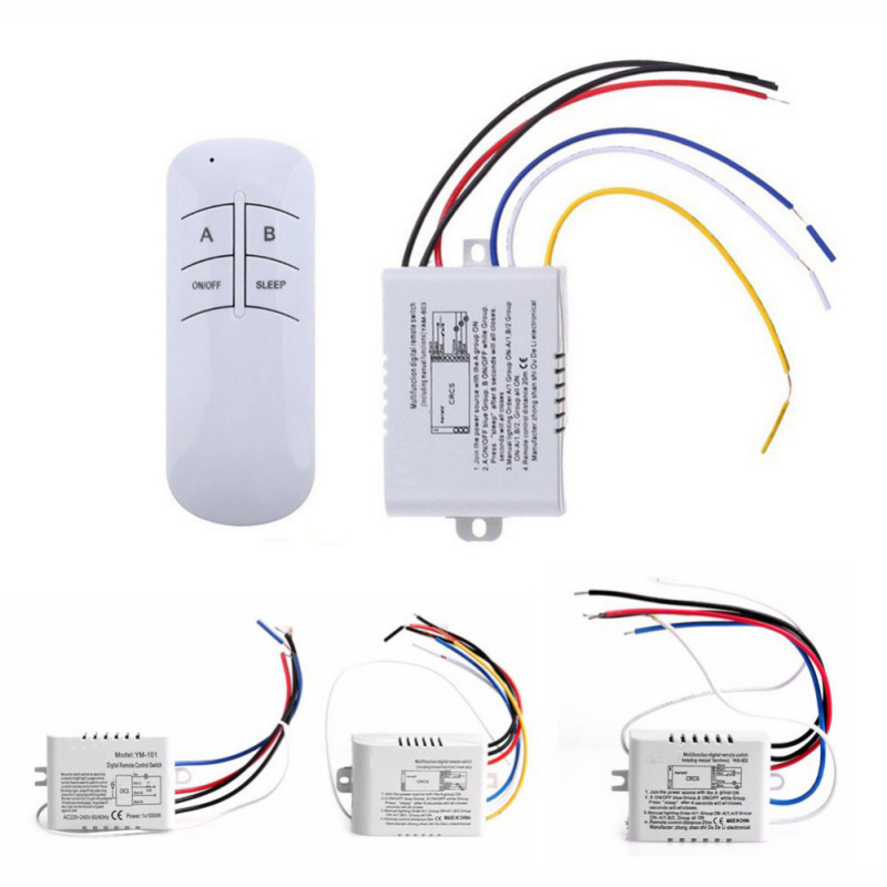 Remote-Control-Switch Light Receiver Transmitter Lamp Digital 3-Port Wireless-Wall 220V