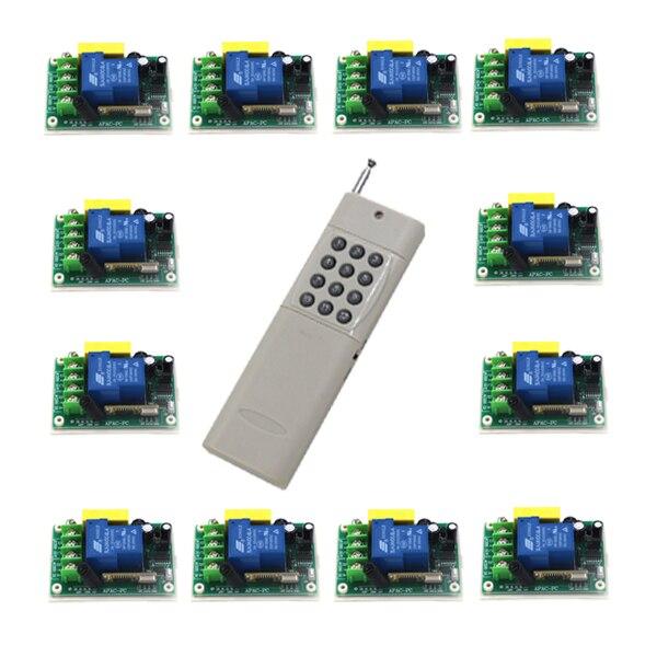 220 V 1CH 30A RF commutateur de télécommande sans fil 12 récepteur et 1 émetteur lampe de lumière LED interrupteur relais momentané bascule ugs: 5514
