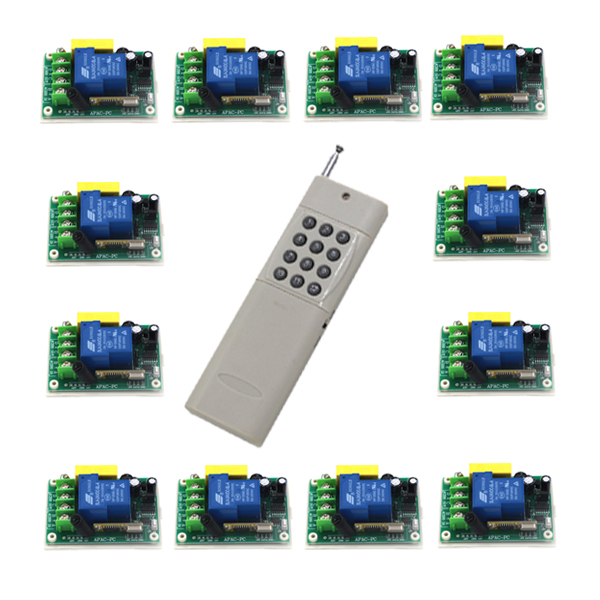 220V 1CH 30A RF wireless remote control switch 12 receiver &1 transmitter Light Lamp LED Switch Relay Momentary Toggle SKU: 5514 ac 220v 30a 1ch rf wireless remote control switch set 1 receiver 4 transmitter on off fixed code for light lamp sku 5332