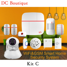 (1 set Kit C)Vcare Aalarm Intelligent Wifi&GSM Home Alarm System with Wireless Smoke Gas Water leak detector PIR Motion