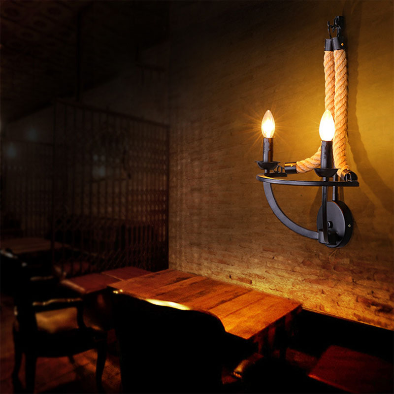 Free Shipping Nordic Fashion Lamps Vintage Rustic Of head Balcony Hemp Rope Wall Lamp Wall Sconce e14 double head wall lamp
