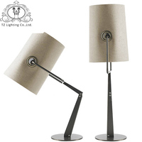 NOOSION Italy Fork Folding Table Lamp Linen Cloth Lamp Shade Table Light For Bedroom Living room Study Lampara de mesa para