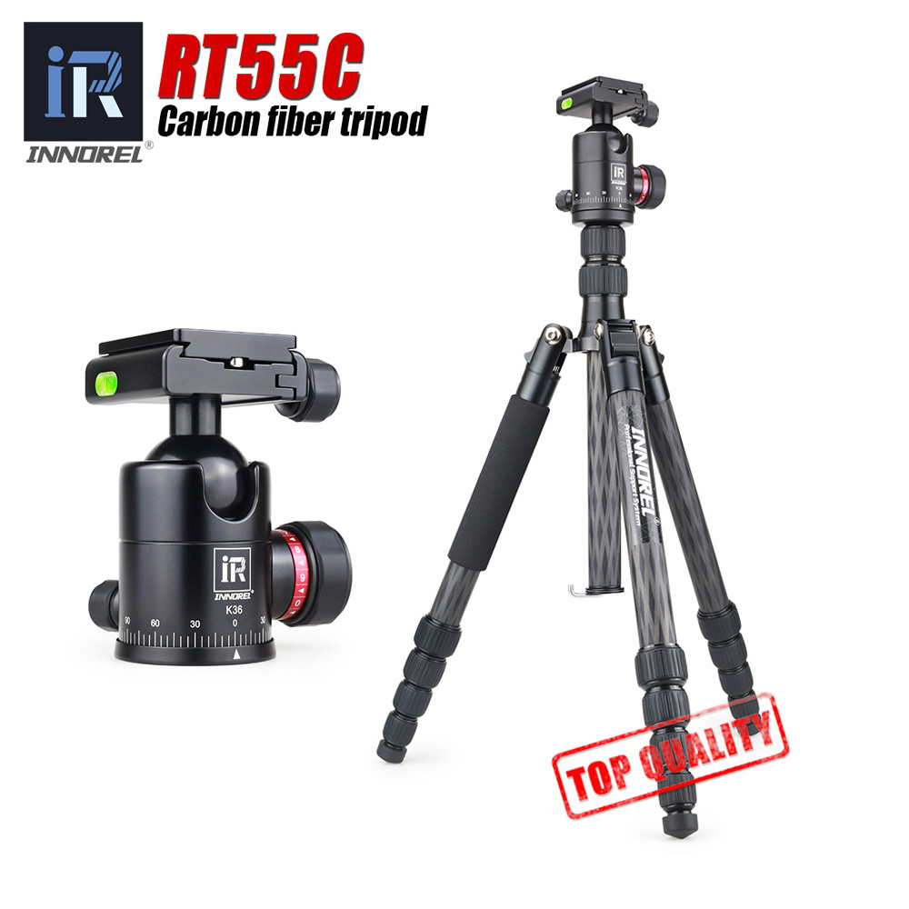 RT55C 12kg load portable carbon fiber DSLR camera tripod video travel photography tripod with ball head