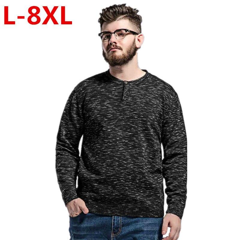 Grande taille 8XL 6XL 5 XLWinter hommes 2017 nouvelle mode pull tricoté chandail o-cou décontracté à manches longues chaud pulls hommes chandails