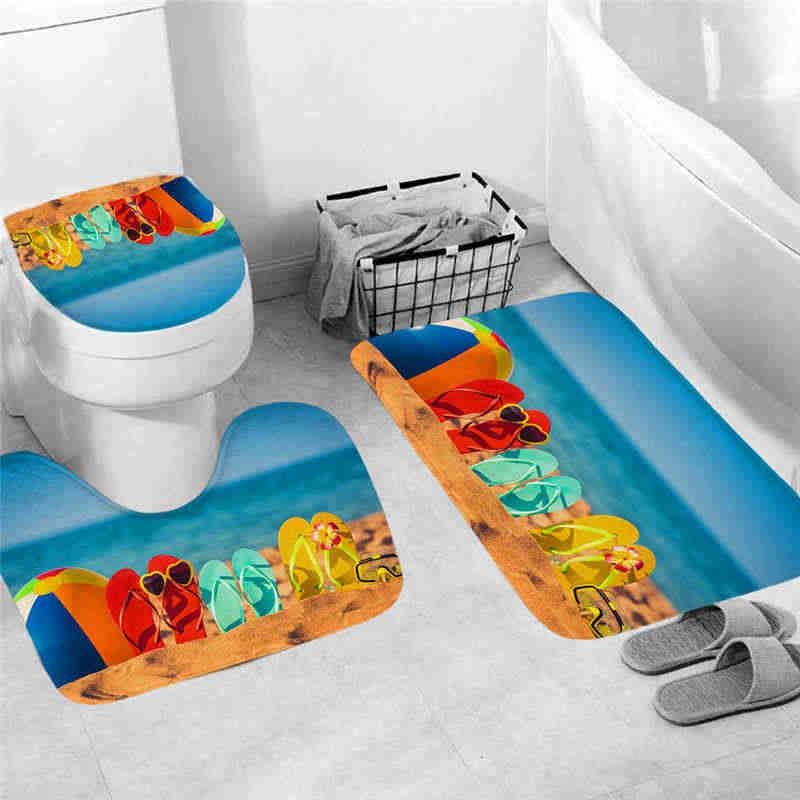 3 sztuk antypoślizgowa rybia łuska mata do kąpieli łazienka kuchnia wycieraczki dywanowe Decor antypoślizgowa podłoga maty toaleta wc dywaniki klapa sedesu @ 12