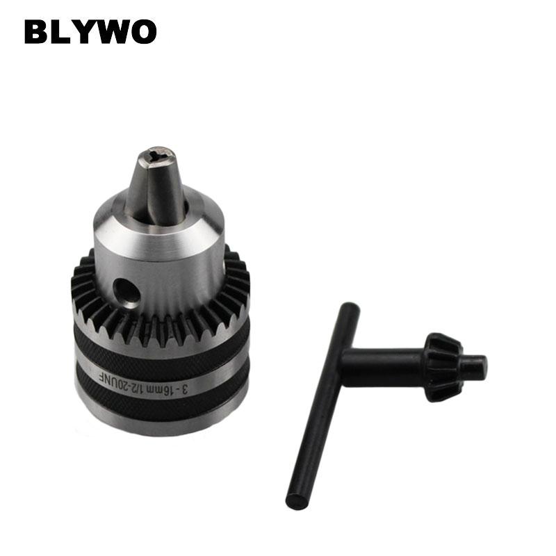 Heavy Duty 3-16mm Drill Chuck With Key 1/2-20UNF or B16 Power Tool Accessories