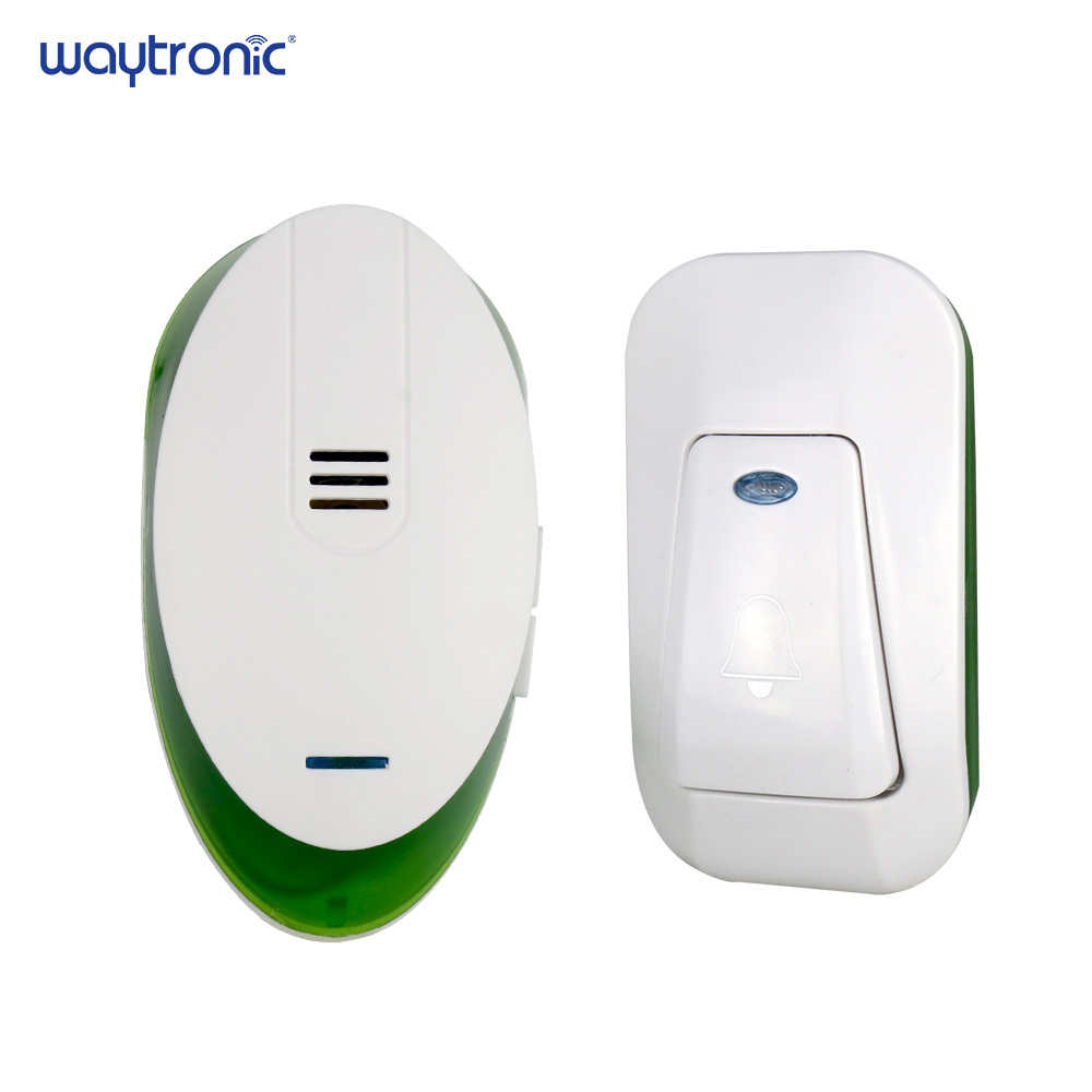 Home Office Wireless Electric Dingdong Ring Doorbell AC 220V 1 Plug-in Receiver 1 Push Button Transmitter 150m Receive Range