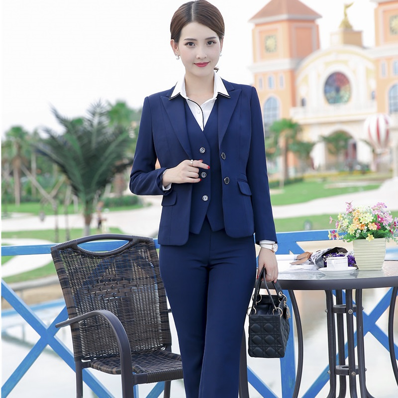 Formal OL Styles Pantsuits With 3 pieces Jackets + Pants + Vest For Ladies Pants Suits Female Blazers Autumn Winter Plus Size