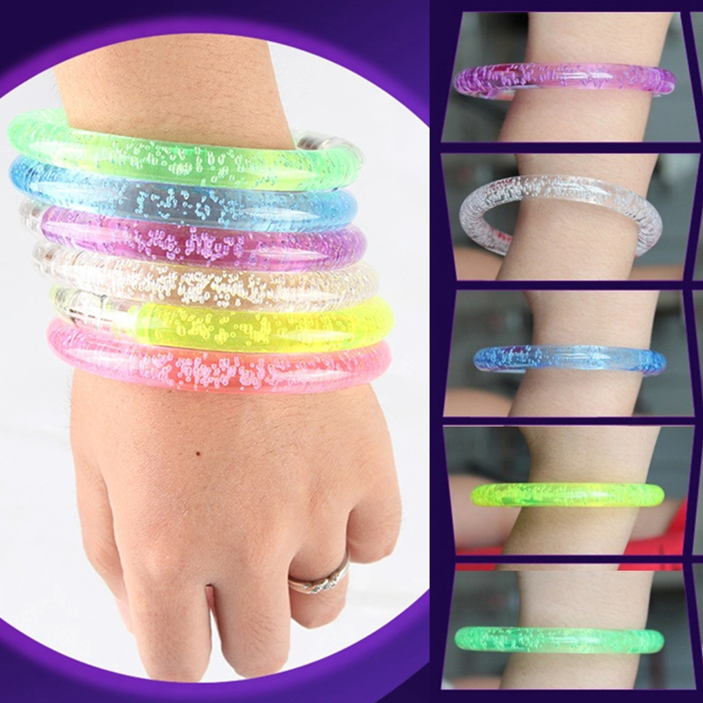 1 x Colorful Changing LED bracelet Light up Bracelet flashing Acrylic glowing bracelet toys party decoration supplies P20