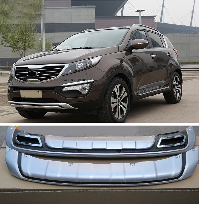 2014 For 2011-2014 KIA Sportager High quality plastic ABS Chrome Front+Rear bumper cover trim car-styling accessories jgrt chrome rear window wiper cover trim for 2013 2014 2015 frod escape kuga new high quality chrome stickers trim car styling c