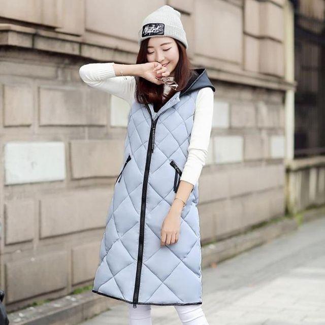 2016 новое пальто жилет женщин вниз хлопок удлиняется Тонкий толстые теплые пальто хлопка рукавов жилет пальто